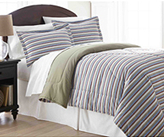 Micro Flannel Comforter - Awning Stripe
