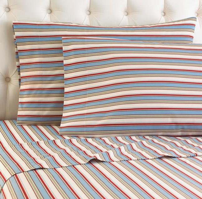 Striped Pattern Micro Flannel Sheet Set Micro Flannel