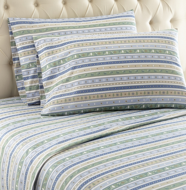 Calico Printed Pattern Micro Flannel Light Blue and Brown Sheet Set