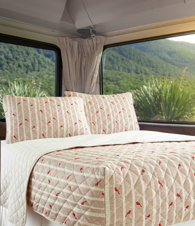 Micro Flannel Rv Quilted Fitted Bedspread, Rv Queen Bedspreads