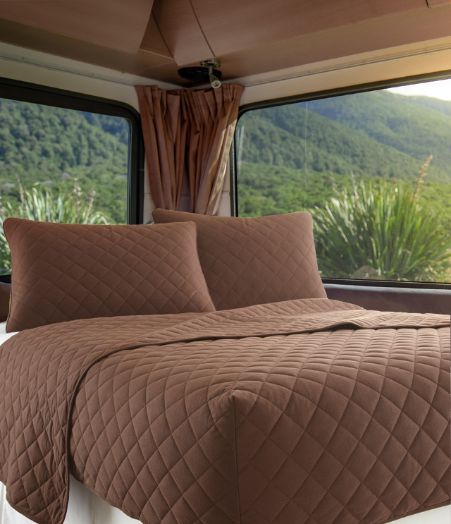 Rv Bedroom Organized With Four Easy S, Bedding For Camper Queen