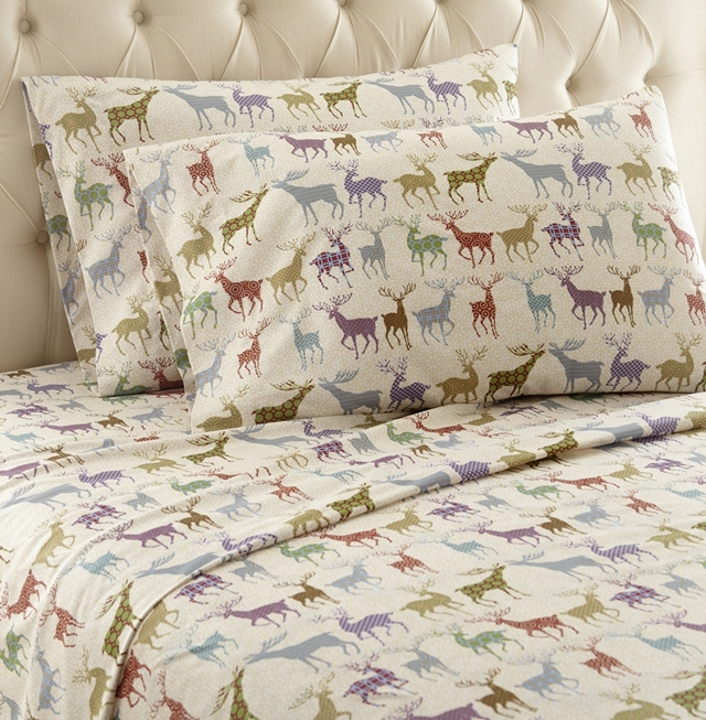 Relatively Colorful Deer Printed Pattern Micro Flannel Sheet Set WF11