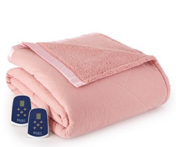 Micro Flannel Electric Sherpa Blanket - Frosted Rose