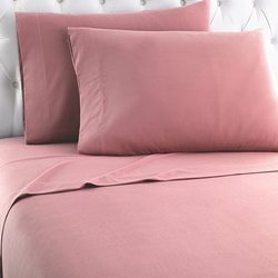 Micro Flannel Sheet Set - Frosted Rose