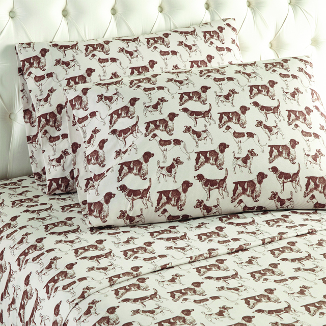 Hunting Dogs Printed Pattern Micro Flannel Sheet Set