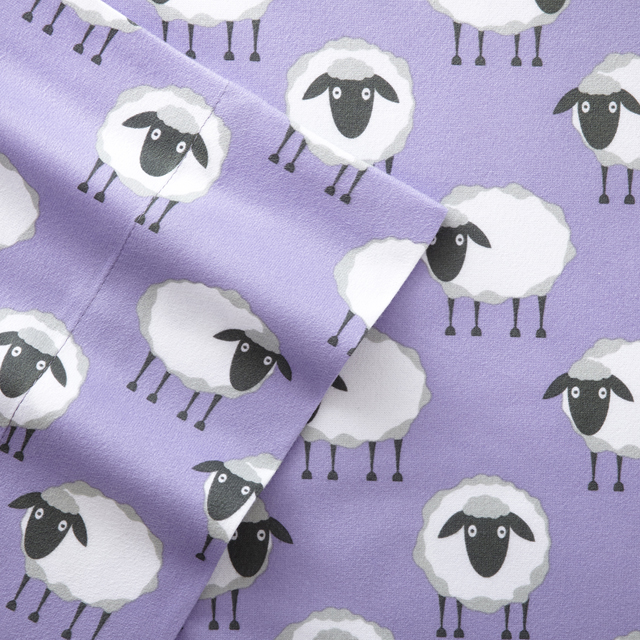 Sheep Lavender Printed Pattern Micro Flannel Sheet Set - photo#39