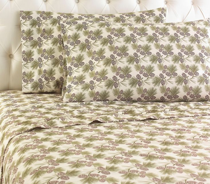 Micro Flannel Printed Sheet Sets   Pinecone