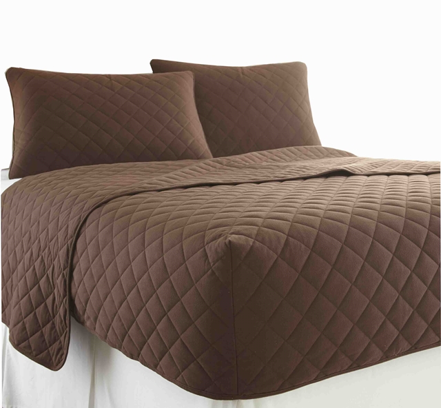 Brown Micro Flannel Rv Quilted Fitted Bedspread 195 198 195 226