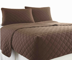 Micro Flannel RV Quilted Fitted Bedspread - Chocolate