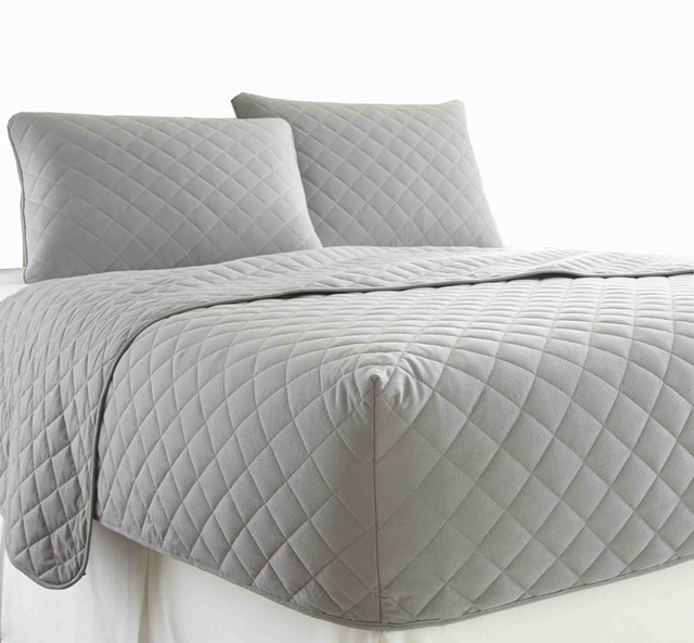 Grey Micro Flannel Rv Quilted Fitted Bedspread 195 198 195 226 195 194