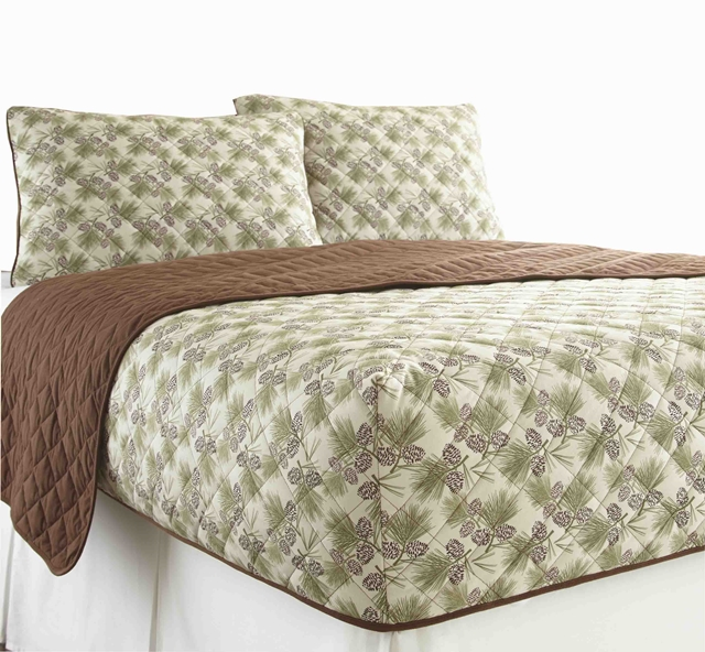 Micro Flannel Rv Quilted Fitted Bedspread Pinecone