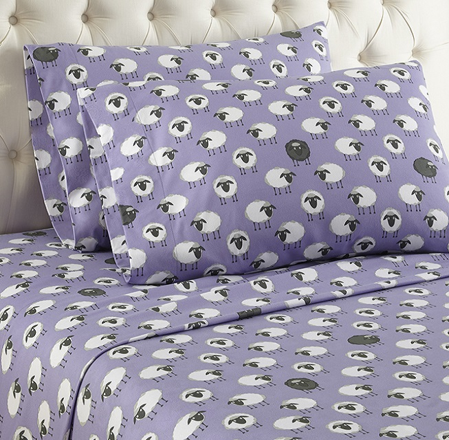 Sheep Lavender Printed Pattern Micro Flannel Sheet Set - photo#3