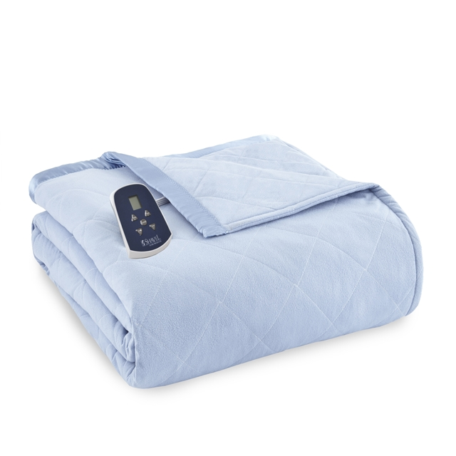 Light Blue Micro Flannel Heated Electric Blanket From Shavel
