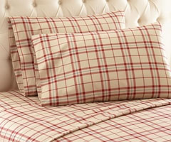 Micro Flannel Printed Sheet Set - Carlton Plaid Tan