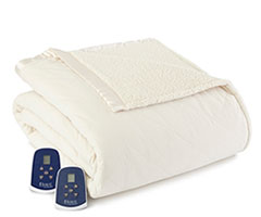 Micro Flannel Electric Sherpa Blanket - Ivory