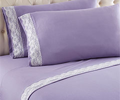 Micro Flannel Lace Edge Sheet Sets - Amethyst