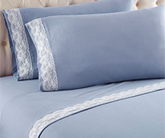 Micro Flannel Lace Edge Sheet Sets - Wedgwood