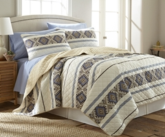 Ivory Lodge Stripe Micro Flannel Quilt Set
