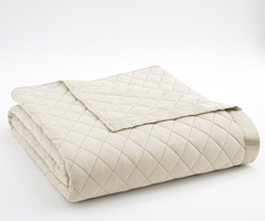 Ivory Micro Flannel Quilted Blanket