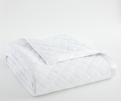 Bright White Micro Flannel Quilted Blanket