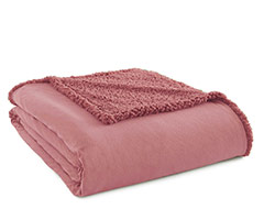 Micro Flannel Sherpa Blanket - Frosted Rose
