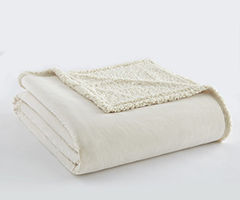 Micro Flannel Sherpa Blanket - Ivory