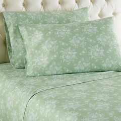 Micro Flannel Printed Sheet Sets - Toile Celedon