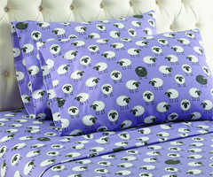 Micro Flannel Printed Sheet Sets - Sheep Lavender