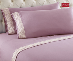 Micro Flannel Lace Edge Sheet Sets - Frosted Rose