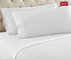 Micro Flannel Lace Edge Sheet Sets - White